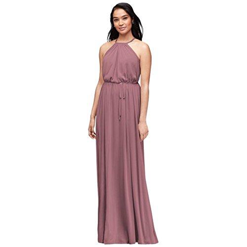 Soft Mesh Halter Bridesmaid Dress With Slim Sash Style F19533  Quartz  14