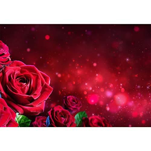 CSFOTO 10x7ft Red Rose Backdrop Wedding Ceremony Background for Photography Bridal Shower Birthday Party Decor Reception Ceremony Dessert Table Girls Kids Adults Portraits Wallpaper