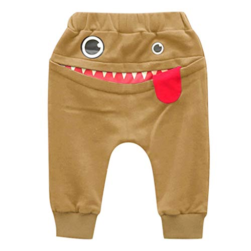 - iZZZHH Baby Children Kids Boys Girls Cartoon Shark Tongue Harem Pants Trousers Pants Jogger Pants (100, Khaki)