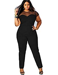Women Plus Size Perspective Clubwear Bodycon Long Jumpsuit Rompers