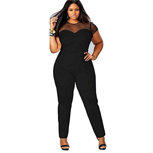 eShow Women Plus Size Perspective Clubwear Bodycon Long Jumpsuit Rompers (XL, Black)