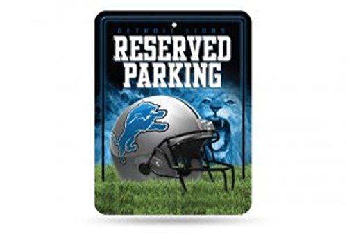 Rico NFL Detroit Lions 8-Inch by 11-Inch Metal Parking Sign (Detroit Lions Sign)