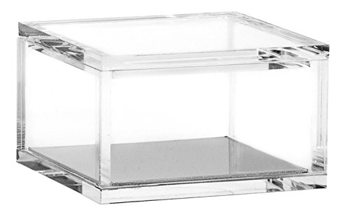 Acrylic & Silver Odds & Ends Box by OfficeGoods - A Classic Modern Design to Help Organize and Brighten Up Your Desk – Elegant Office Accessory (Small)
