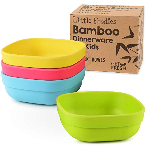 Bamboo Kids Bowls, 4 Pack Set, Stackable Bamboo Dinnerware for Kids, Eco-friendly Kids Bowls Set, BPA-Free, Dishwasher Safe and Stackable