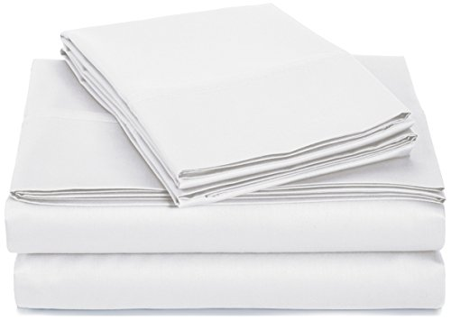 AmazonBasics 400 Thread Count Sheet Set, 100% Cotton, Sateen Finish - King, White - Cotton Sateen 400 Thread