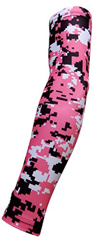 NEW! Moisture Wicking Compression Arm Sleeve (Pink Digital Camo, Youth Large)