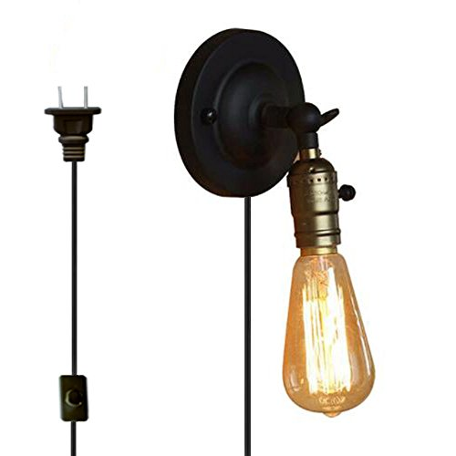 Kiven Bare Edison Bulb Wall Sconce With metal plug 1.8 black switch line Rustic Wall Lighting Steampunk Lamp Vintage Wall Lamp Classic Loft Lighting bulb included (BD0234) - Classic Wall Lamp