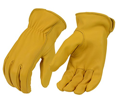 North American Trading-Men's Tan Unlined Full Grain Deerskin Gloves-YELLOW-2X-LARGE