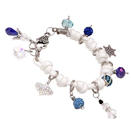 Bleek2Sheek - Handmade in the USA - Frozen theme - Snowflake, Snowman, Rhinestone Crystal - Knotted Cord Dangle Charm Jewelry Bracelet - New Style (WHITE)