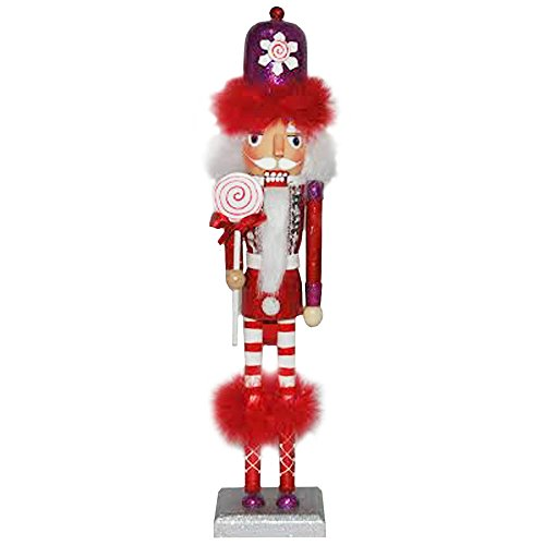 Christmas Nutcracker Figure The Candyman Collection Fun Bright Red Feather and Rhinestone Details 14 Inch Exclusive Design