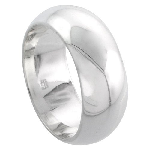 Sterling Silver Domed Wedding Band