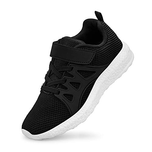 QANSI Child Kids Fashion Sneakers Ultra Lightweight Breathable Athletic Running Walking Casual Shoes Girls Boys Black/White 1.5M(US) Little Kid