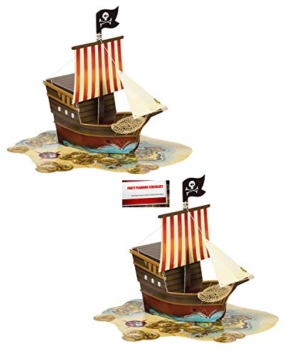 ((2 Pack) Pirate Ship Map Birthday Supplies Pop up Centerpiece Plus Party Planning Checklist by Mikes Super Store)