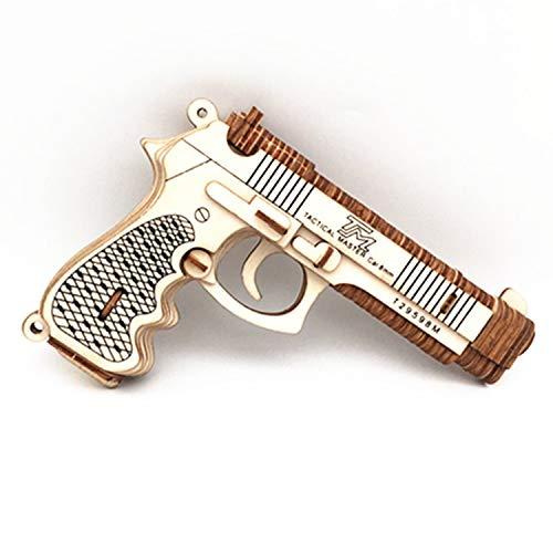 Oray168 3D DIY Wood Puzzles,3-D Assembly Wooden Jigsaw Woodcraft Revolver Gun Rubber Band Gun Pistol Handgun 3D Wooden Puzzle Toys for Kids 8+ and Adults (Beretta M92F) #OC-G003H