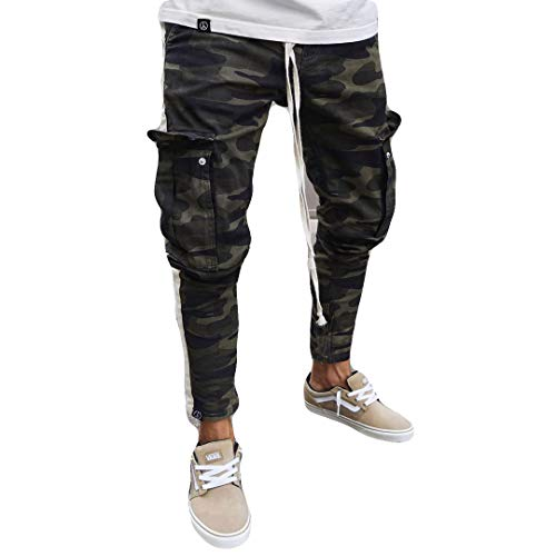Men's Ripped Skinny Distressed Destroyed Straight Fit Side Striped Zipper Jeans with Holes (L=US M, Camo)