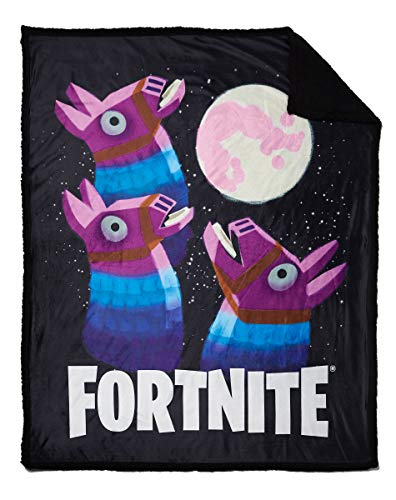 Spirit Halloween Fortnite Loot Llama Sherpa Fleece Blanket - Moon | Officially Licensed