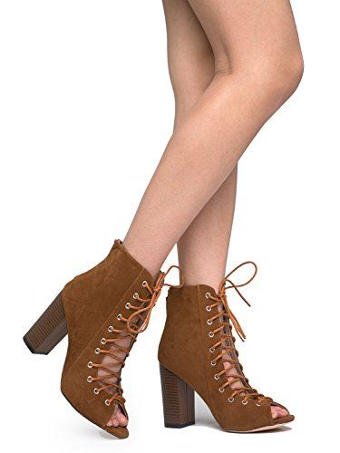 Corrine Wood Heel Lace Up Bootie, Tan Suede, 9 B(M) US (Tan Peep Toe)