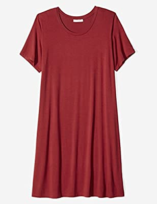 Daily Ritual Women's Plus Size Jersey Short-Sleeve Scoop Neck T-Shirt Dress