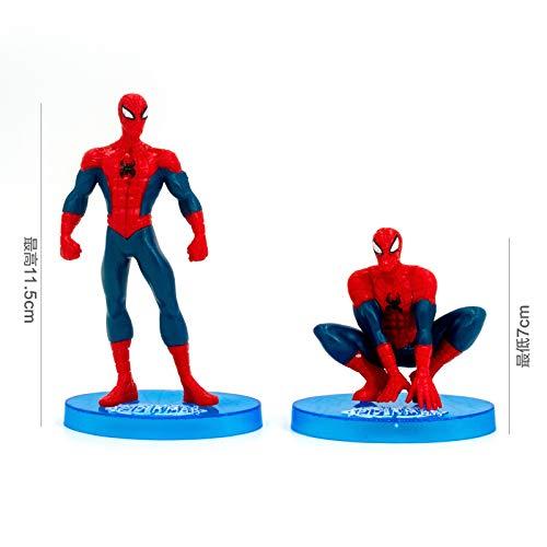 Spiderman Cake Decoration Cartoon Day Plug-In Plug-In Doll Model Bokeh Decoration Decorator Child Lightweight Spider-Man 7-Piece Set