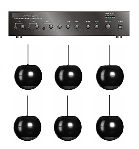 Store/Salon/Restaurant Business Background Music Sound System- Amp, 6 Pendant Speakers +