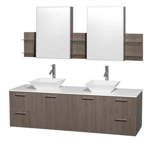 Wyndham Collection Amare 72 inch Double Bathroom Vanity in Grey Oak with White Man-Made Stone Top with White Porcelain Sinks, and Medicine Cabinets new