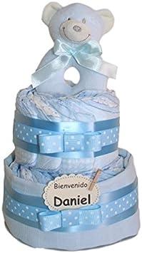 Tarta de pañales pequeño dormilón azul. Regalo original para recién nacido - tarta pañales - regalo bebe
