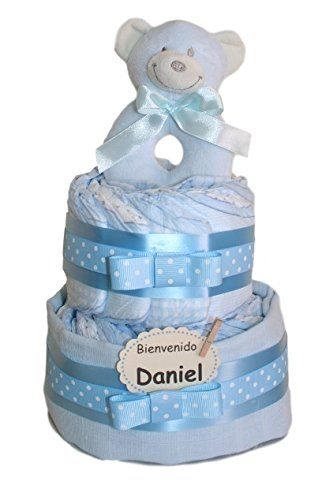Tarta de pañales pequeño dormilón azul. Regalo original para recién nacido - tarta pañales -