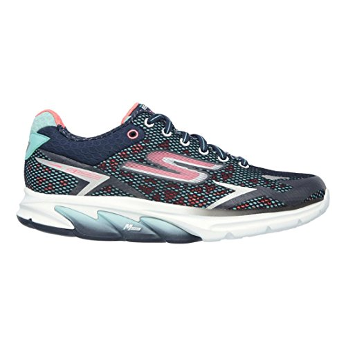 Skechers Womens/Ladies Go Meb Strada 2 Breathable Track Running Shoes Navy / Coral
