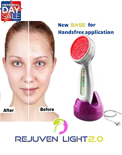 Rejuven Light 2.0 LED Light therapy w/ 4 Interchangeable heads Anti aging device, skin rejuvenation, lightens dark spots, promotes collagen and reduce wrinkles and fine lines (Rejuven Light) ()