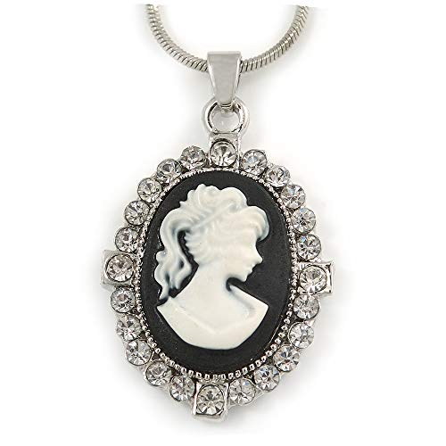 - Avalaya Victorian Style Small Crystal Cameo Pendant with Snake Style Chain in Silver Tone - 40cm L/ 5cm Ext