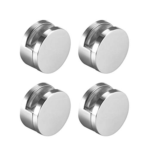 uxcell Mirror Clips - Zinc Alloy Glass Clips Clamps Holder Round Shape -