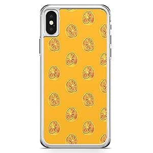 iPhone X Transparent Edge Phone Case Orange Phone Caese Oranges Pattern iPhone X Cover with Transparent Frame