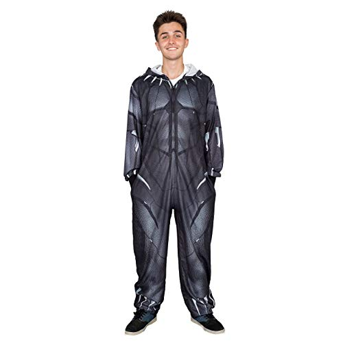 Marvel Comics Black Panther Zip up One Piece Pajama Union Suit (Adult X-Large) -