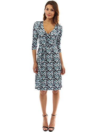 PattyBoutik Women Faux Wrap A Line Dress (Turquoise, White and Black Large)]()