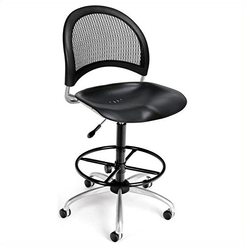 (OFM 336-P-DK-BLK Moon Swivel Plastic Chair with Drafting Kit,)