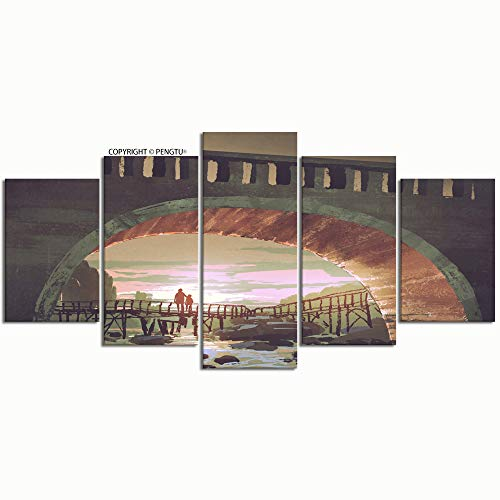 PENGTU Paintings Modern Canvas Painting Wall Art Pictures 5 Pieces Scenery River Pass Under Old Bridge Wall Decor HD Printed Posters Frame