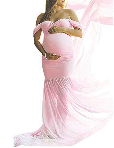 (JustVH Maternity Off Shoulder Chiffon Gown Maxi Photography Dress for Photo Shoot Baby Shower Dress Pink)