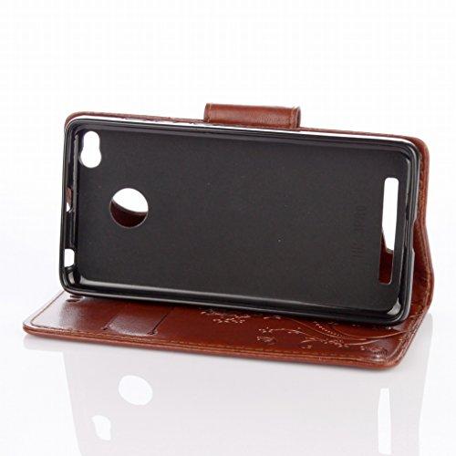 LEMORRY Xiaomi Redmi 3 Pro Hülle Tasche Ledertasche Flip Beutel Haut Slim Fit Bumper Schutz Magnetisch Schließung Stehening Soft SchutzHülle Weich Silikon Cover Case Schale für Xiaomi Redmi 3 Pro, Glü Braun