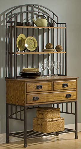Oak Hill Distressed Oak Bakers Rack with Hutch by Home - Kitchen Bronze Rack Bakers