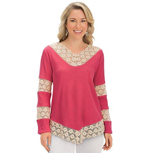 Crochet Tunic Trim (Women's Crochet Lace Trim Long Sleeve Woven Gauze V-Neck Tunic Top Shirt, Coral, XX-Large)