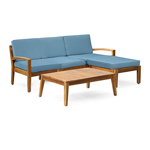 Christopher Knight Home Grenada Sectional Sofa Set | 5-Piece 3-Seater | Includes Coffee Table and Ottoman | Acacia Wood Frame | Water-Resistant Cushions | Teak and Blue, Finish