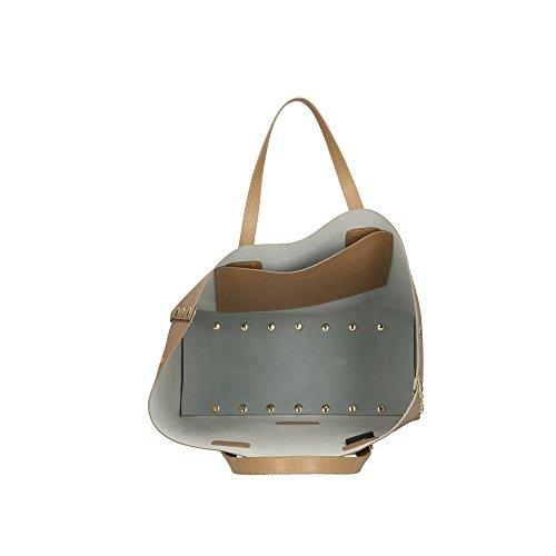a POP Borsa Italy 34x31x15 in in Stampa Cm Saffiano Vera Bags Pelle Made Mano Fango xzr1Exqw