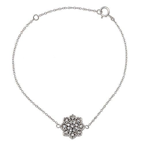Instagems 10k White Gold Floral Style Diamond Pendant Bracelet