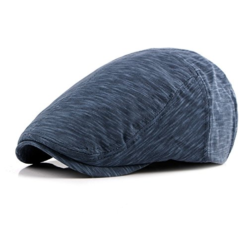 Cotton Beret Hat Casual Solid newsboy Caps Gatsby IVY Flat Golf Driving Hat - Blue (Dyed Twill Pigment Solid Cap)