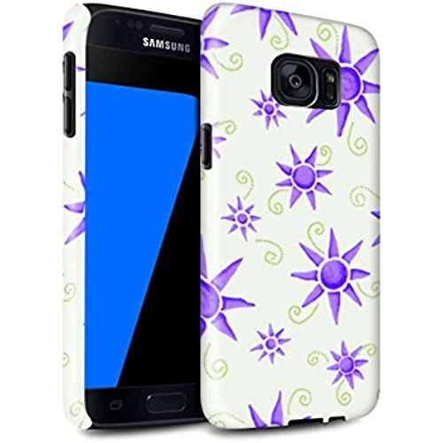 STUFF4 Gloss Tough Shock Proof Phone Case for Samsung Galaxy S7/G930 / Purple/White Design / Sun/Sunshine Pattern Sales
