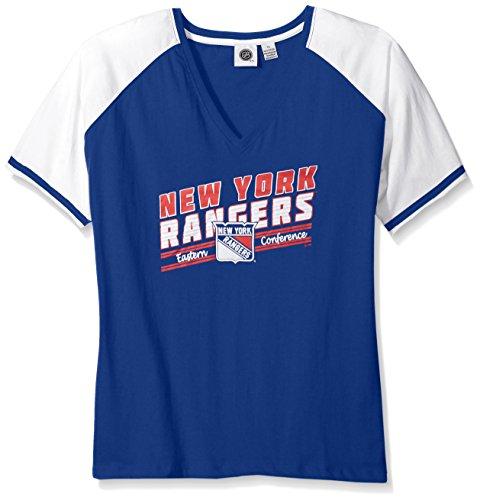 (Profile Big & Tall NHL New York Rangers Women's Short Sleeve Raglan V-Neck T-Shirt, 3X, Royal)