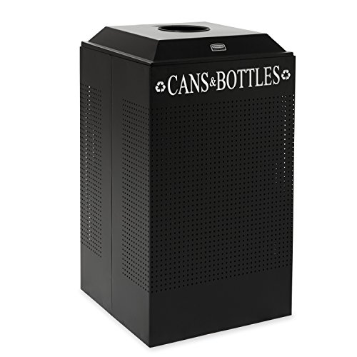 Rubbermaid Commercial Steel 29-Gallon Silhouette Recycling Receptacle for Cans Bottles, Legend -InchCans Bottles-Inch, Square, Black by Rubbermaid Commercial Products