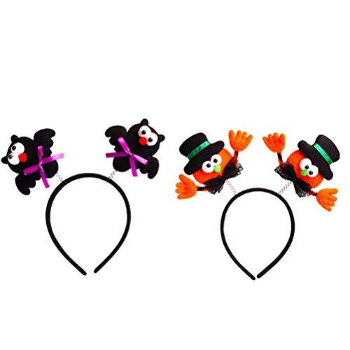 TOYANDONA 2pcs Halloween Decorative Headband Headwear Party Hair Hoop Glowing Party Cosplay led (Black hat and Hand+Black bat)