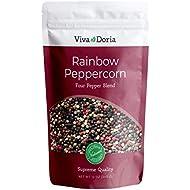 Viva Doria Rainbow Blend Peppercorn, Steam Sterilized Whole Black Pepper, Whole Green Pepper, Whole Pink Pepper, Whole White Pepper, 12 Oz, For Grinder Refill