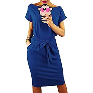 Longwu Women's Elegant Comfortable Casual Short Sleeve Pencil Dress with Belt Pockets for Work/Lounge Wear